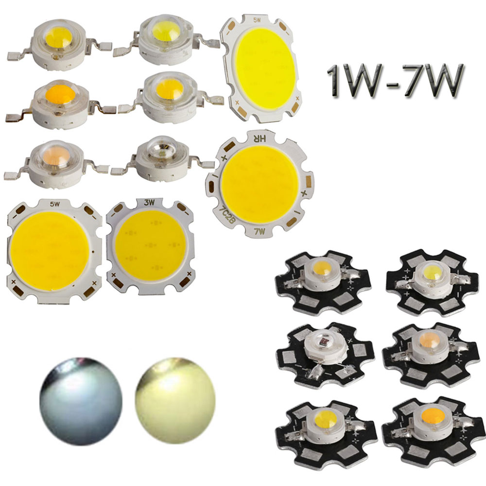 10 unids/set de alta potencia LED Chip 1W 3W 5W 7 W COB o con PCB LED cuentas cuenta SMD LED blanco cálido/frío 1 3 5 7 vatios
