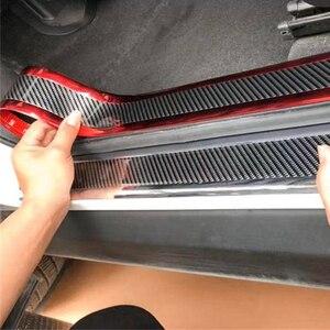 Image 5 - 2,5 m Carbon Fiber Farbe Auto Tür Schwellen verschleiss Schützen Platte Kotflügel Schutz Seite Körper Rock Augenbraue Grill Dekoration