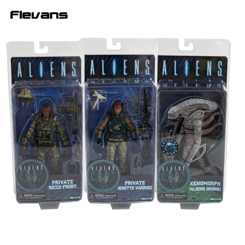 NECA <font><b>ALIENS</b></font> Series 9 Xenomorph Albino Drone Private Ricco Frost Jenette Vasquez PVC Action Figure Collectible Model Toy 7