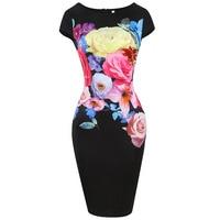Sisjuly Vintage Dress 1950s 60s Knee Length Women Black Elegant 2017 Spring Female 3D Floral Print
