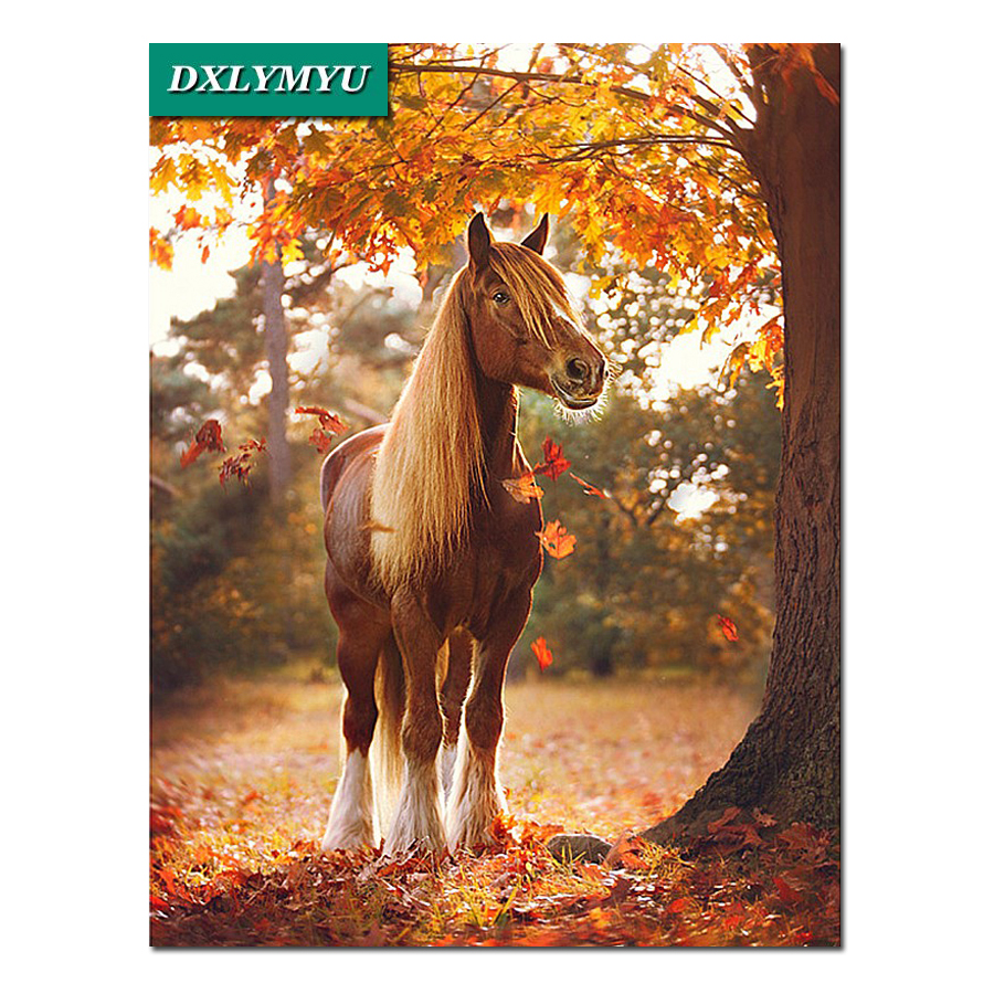 5D Diy Diamond Painting Deciduous horse Full Drill Mosaic Square Resin Pasted Embroidery Cross Stitch Kits Home Decor Crafts