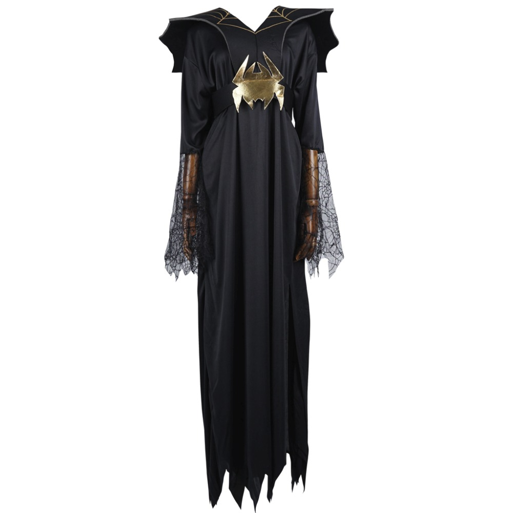Women Vampire Costume Girl Witch Dress Adult Halloween Costume Gothic Dark Queen Costume Cobweb Neck Spider Long Dress for Party
