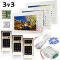 """Apartment 3 Doors HD 700lines Cameras Password And RFID Cards Unlock 3 Color 7"""" Monitors Video Intercom System Bells Door phones"""