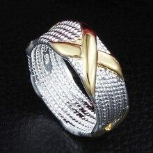 Galaxy garantizado 100% 925 anillo de plata de ley s925 enteros x de oro los hombres Anillos de boda Para Las Mujeres Anillo de Tamaño 5 6 7 8 9 10 YH115