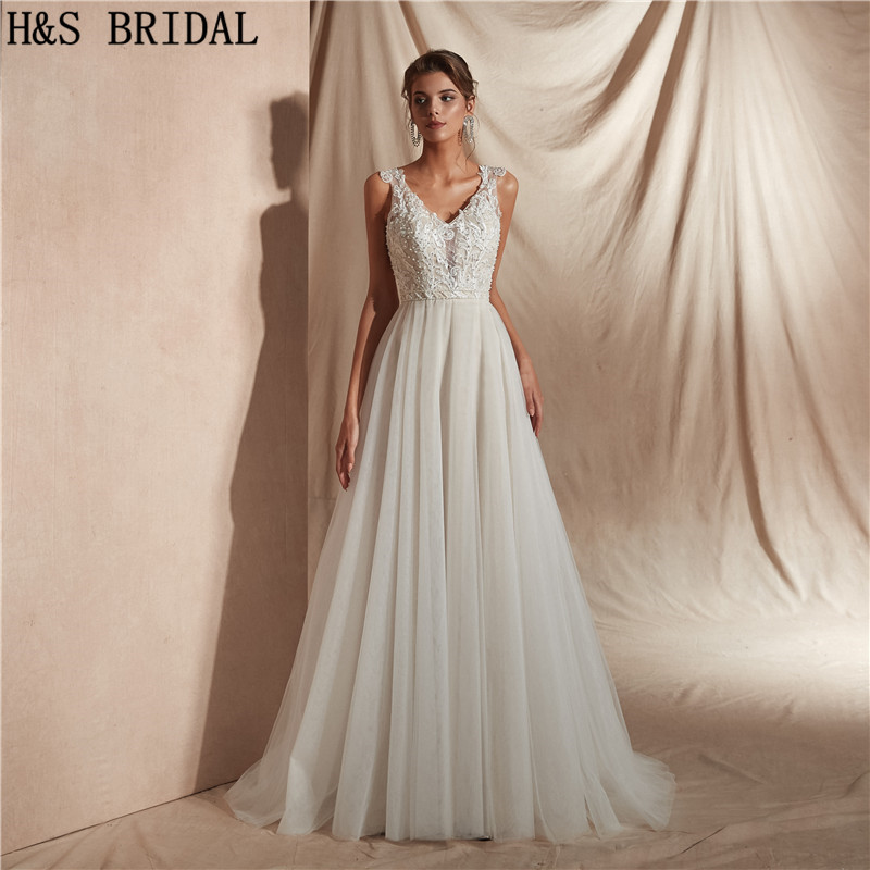 H & S robes de mariée longues Boho col en V robes de mariée plage robe de mariée mariee robes d'invités de mariage