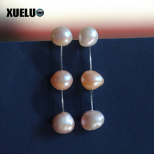 XUELUO 925 Sterling  Silver Fashion Charming Earrings 10-11mm Mixed Color Baroque Freshwater Pearl Earrings