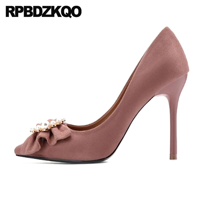 3 Inch Scarpin Metal Pearl Bow High Heels Discount Sweet Pumps Suede 10 42 Size 33 Pink Plus Pointed Toe Dress Shoes Women plus size bow piano music note dress