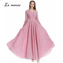 cb5a6ae6bc Abaya Suknie Muzułmańskie Maxi Sukienka Różowy Indyka Arabski Kaftan Dubaj  Wieczór Muzułmańska Party Modest Suknia