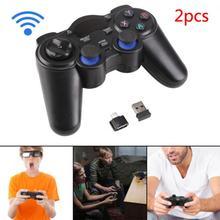 2 шт. 2,4 г игровой контроллер беспроводной геймпад джойстик для PS3 Android tv Box аналоговые палочки с 2 OTG адаптером 2 USB приемник d25