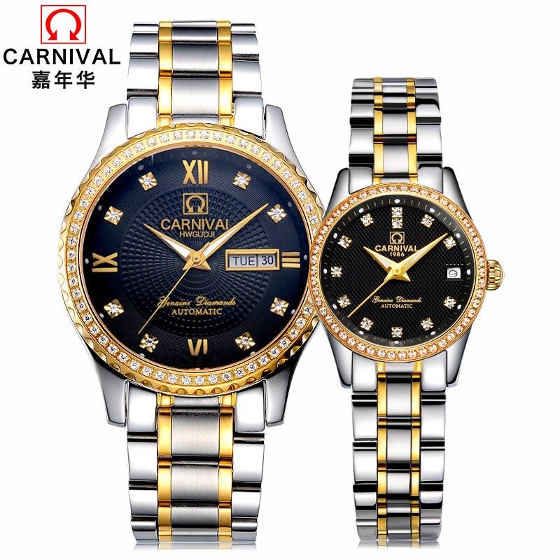 2c390e073b5 CARNAVAL Marca Amante de Luxo Relógios Mecânicos Data Relógio Dos Homens  Das Mulheres À Prova D