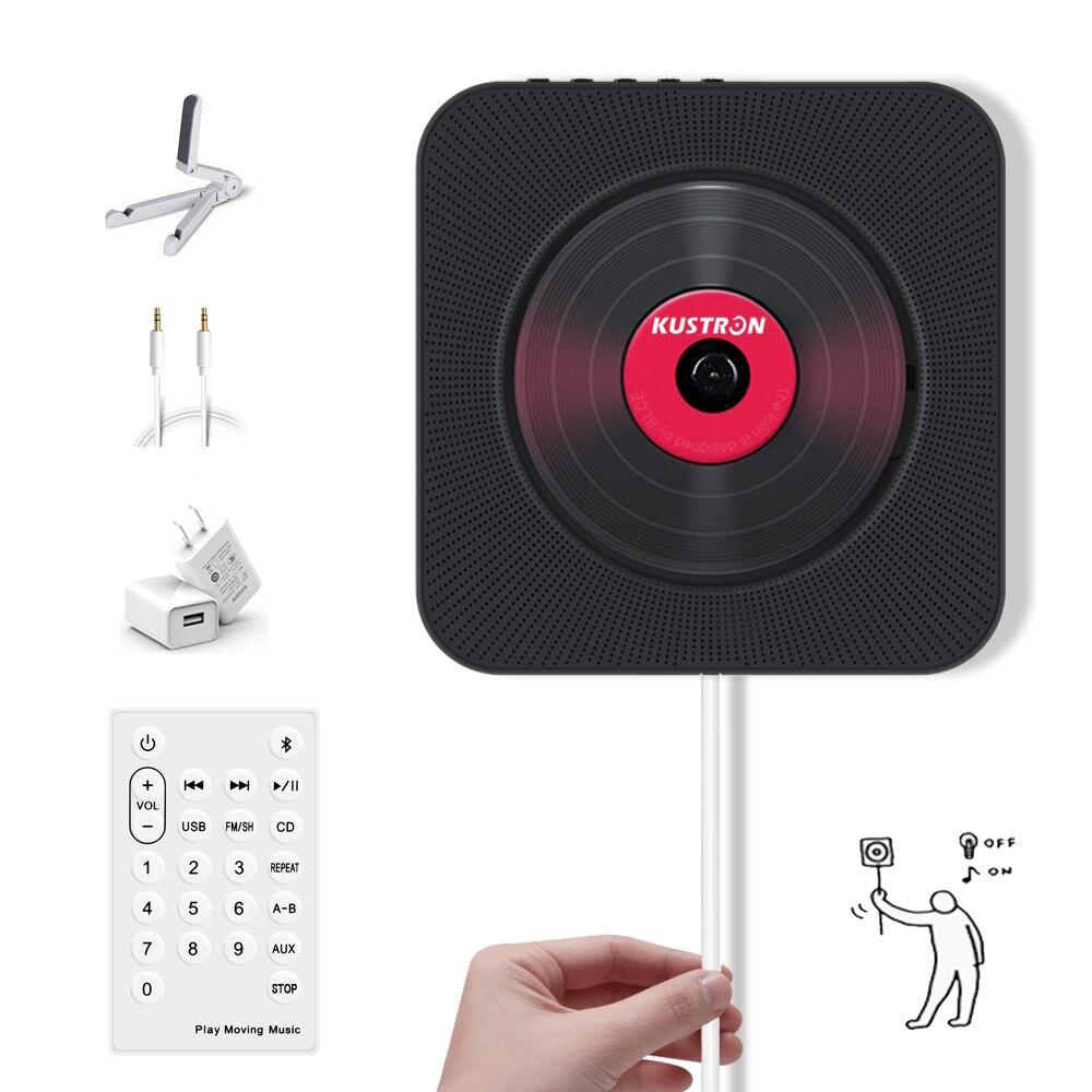 Lecteur cd Bluetooth mural, commutateur de traction avec haut-parleur HiFi à distance lecteur USB prise casque entrée/sortie AUX