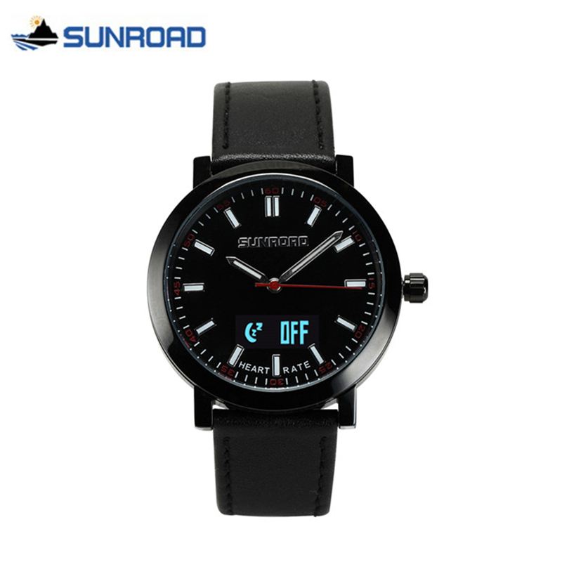 SUNROAD Smart Heart Rate Monitor Watch Mens Waterproof Bluetooth USB Rechargeable Quartz Wrist Watch Sport Alarm Clock Men saat dm360 smart wrist watch waterproof heart rate monitor bluetooth ips smart watch remote music alarm clock for ios