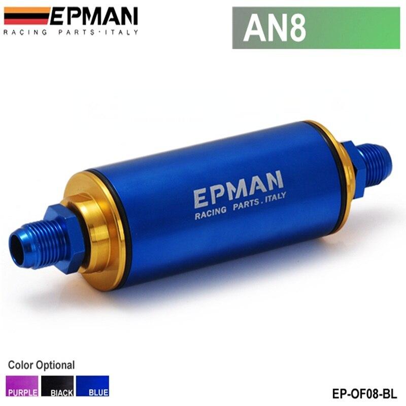 Filtre à essence en alliage bleu AN8 Hi-Flow Motorsport/rallye/course avec filtre en acier EP-OF08-BL