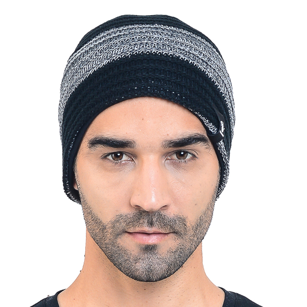 c3ae4099cc269 HISSHE Mens Classic Slouchy Knitted Beanie Cap Winter Baggy Two tone  Striped Beanie Hats Good Quality Acrylic Warm Ski Hat-in Skullies   Beanies  from ...
