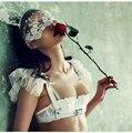 32-38 ABCD fashion summer sexy lace white ultra-thin bra breathable gauze deep V-neck women's push up underwear set