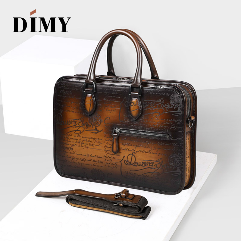 DIMY Italian Calfskin Leather Briefcases Bags For Men 2018 Macbook Handmade Laptop Bags Business Case Totes Vintage Shoulder Bag