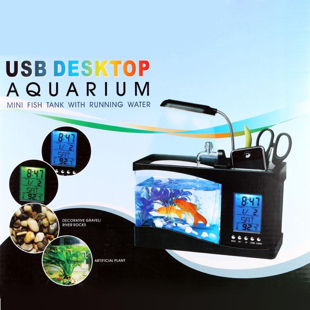 2Colors Mini Usb Fish Tank Desktop Electronic Aquarium Mini Fish Tank ...