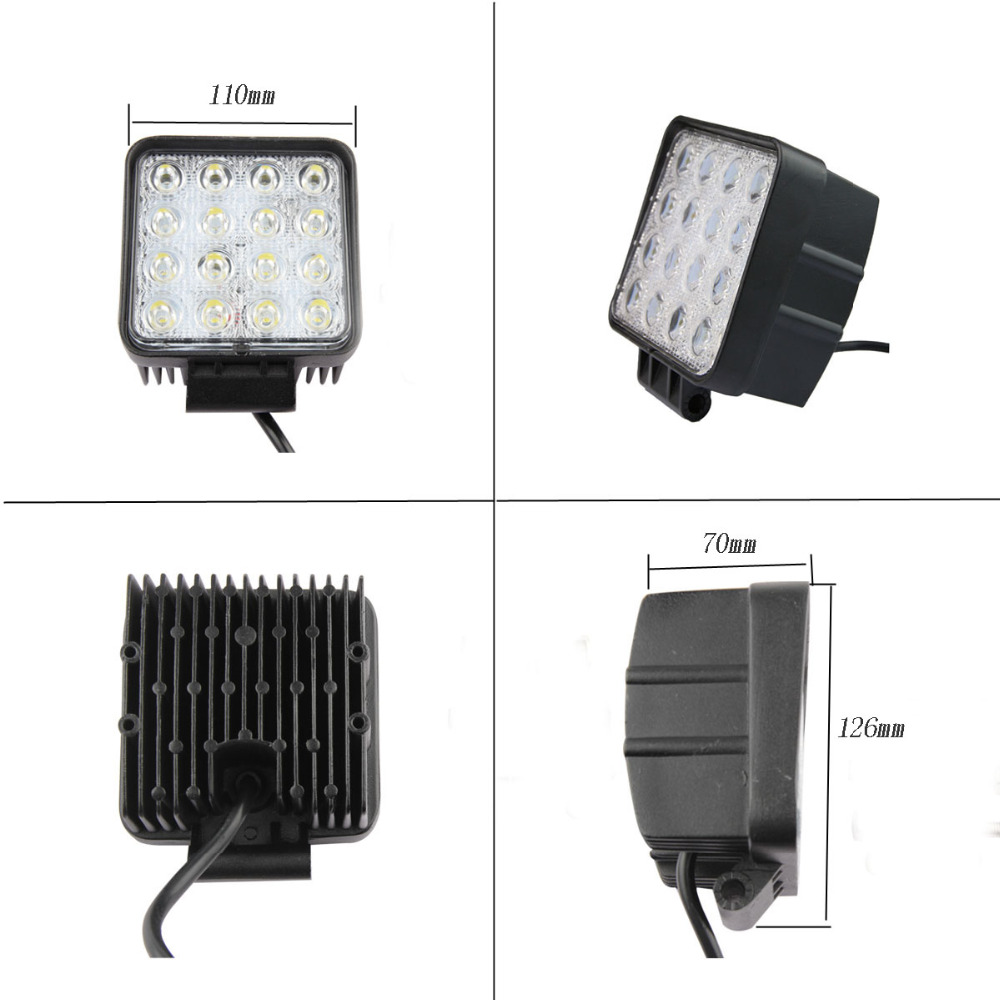 48W LED Work Light for Indicators Motorcycle Driving Offroad Boat Car Tractor Truck 4x4 SUV ATV Flood/spot lamp 12V 24V 2pcs 6 inch 18w led work light for indicators motorcycle driving offroad boat car tractor truck 4x4 suv atv spot flood 12v