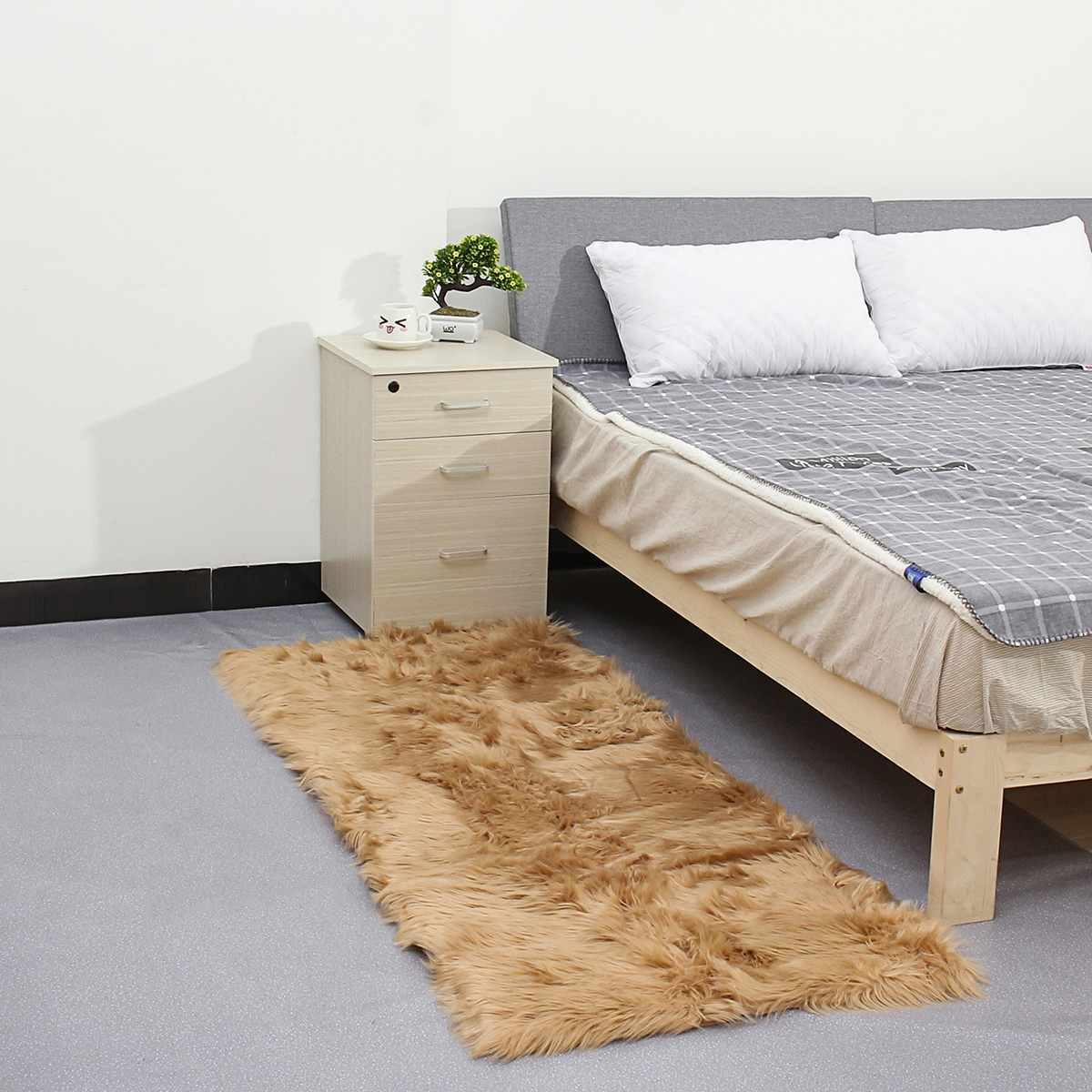 70*180 CM laine Imitation peau de mouton tapis fausse fourrure antidérapant chambre Shaggy tapis salon tapis rond chambre Faux tapis