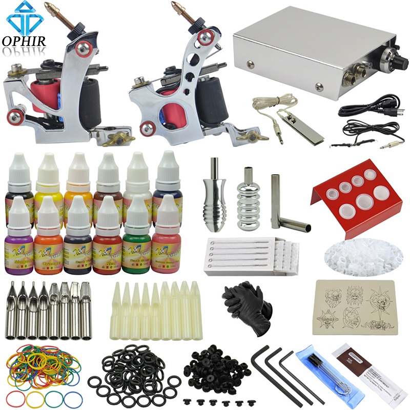 Free Shipping OPHIR Tattoo Kits for Body Art 2 Rotary Tattoo Machine Guns Equipment Power Supply Tattoo Ink Pigment Set #TA069