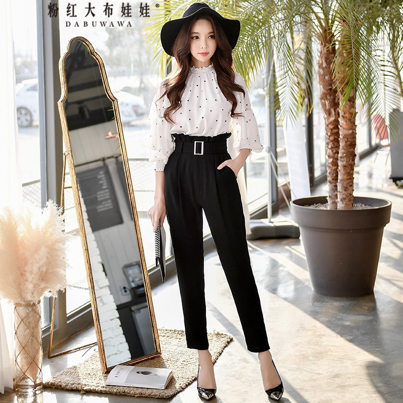 original 2018 brand new womens clothing spring elegant belt high waist black pants women wholesale