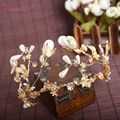 Gold Plated Beautiful Imitation Pearl Tiara Baroque Flower Leaf Wedding Bridal Hair Jewelry Accessories PrincessBride CrownRE474