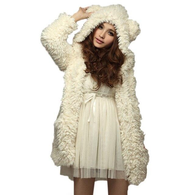 Hoodie Sweatshirt 2017 Women Autumn Winter Warm Soft Fleece Fur Coat Jacket Teddy Bear Ears Thick Overcoat Hooded Long Outerwear