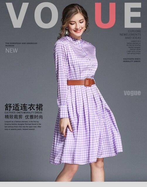 e3db15e0f7ae Korean autumn women loose striped shirt dress casual loose Long sleeve  stand collar Knee-length dresses Grib Purple Summer