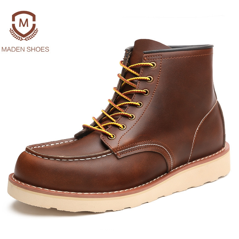 Maden 2018 Spring Winter Top Quality Men Martin Boots Fashion Design Work Tooling Boots Genuine Leather Ankle Boots Botas Hombre sexy style spaghetti strap backless tie up solid color sleeveless dress for women