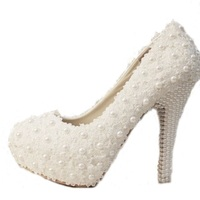 9cm 10cm 12cm 14cm Women Fashion Sweet White Flower Lace Platform High Heels Pearls Wedding Shoes