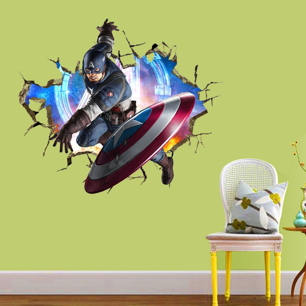 50 pcs/Pack Captain America Avengers Marvel Sticker Mural décalcomanie murale enfants décalcomanie vinyle famille citation livraison gratuite