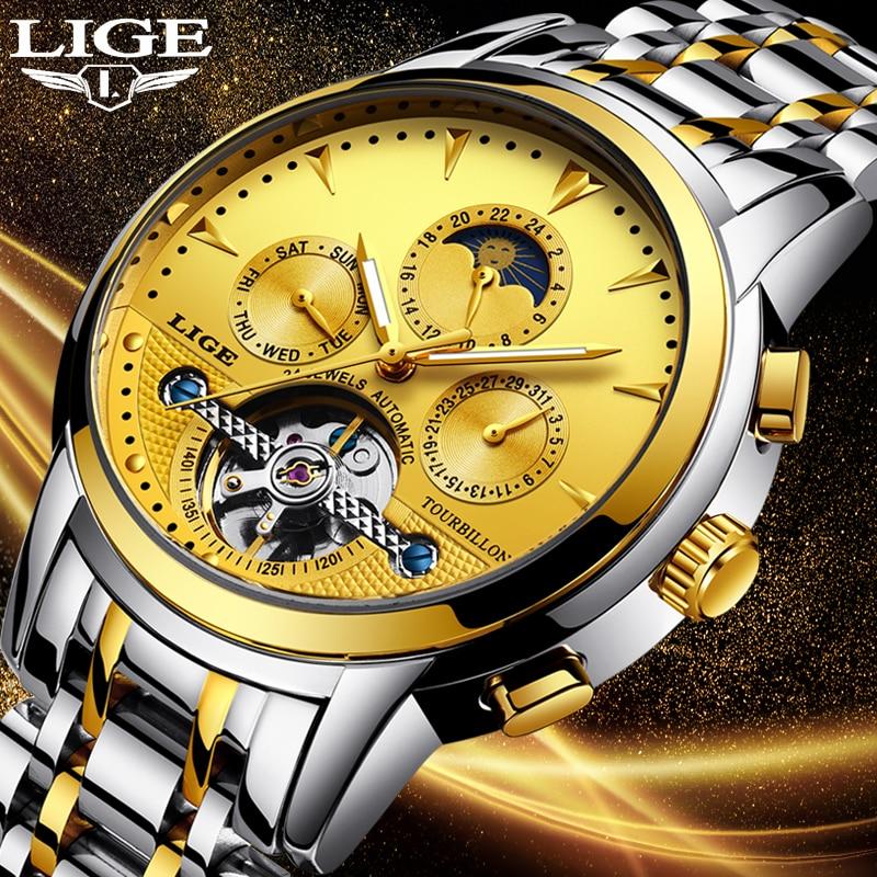 LIGE Gold Watch Men Skeleton Tourbillon Mechanical Automatic Classic All steel Mechanical Wrist Watchs Reloj Hombre