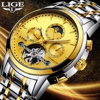 LIGE złoty zegarek mężczyźni zegarek szkieletowy z tourbillonem mechaniczny automatyczny klasyczny wszystkie stali nierdzewnej mechaniczne zegarki Reloj Hombre 2018 Relogio w Zegarki mechaniczne od Zegarki na