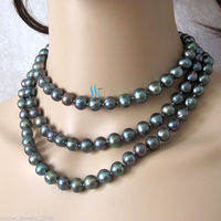 49 9 10mm Peacock Freshwater Pearl Necklace Strand Jewelry