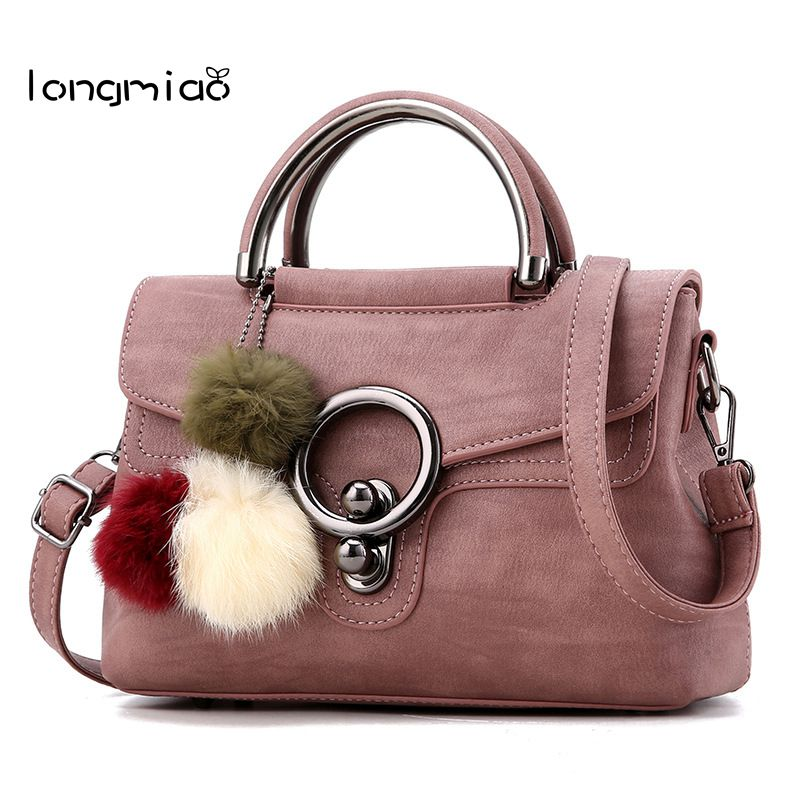 longmiao Brand Women Handbag Solid Flap Vintage Round Lock Tote Bag High Quality Artificial Leather Shoulder
