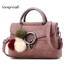 longmiao Brand Women Handbag Solid Flap Vintage Round Lock Tote Bag High Quality Artificial Leather Shoulder Crossbody Bags