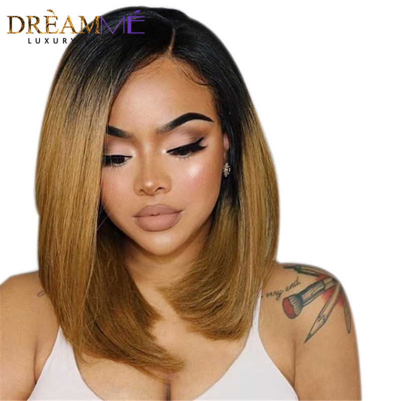 13x6 Long Parting Lace Front Human Hair Wigs With Baby Hair Pre Plucked Ombre Human Hair Wig for Black Woman Dream Me-in Human Hair Lace Wigs from Hair Extensions & Wigs    1