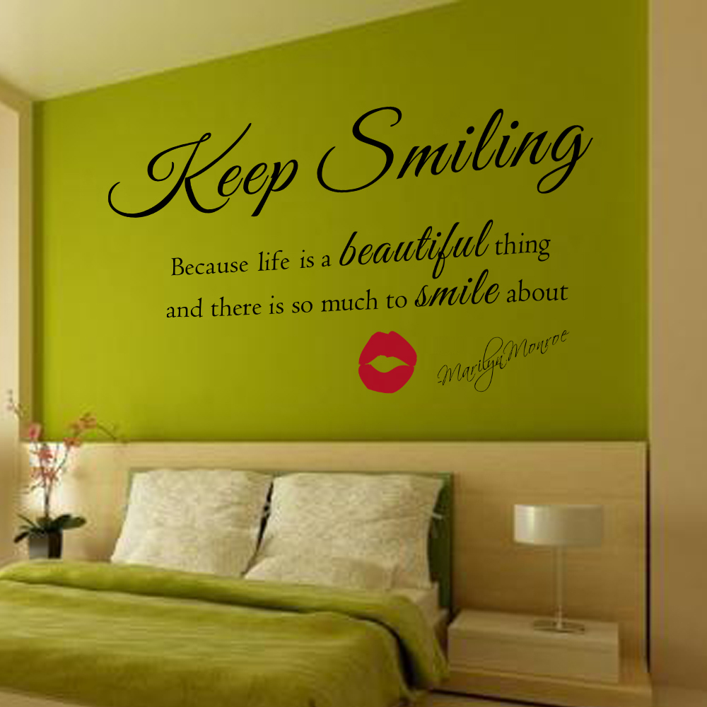 Marilyn Monroe Wall Decal Keep Smiling Wall Stickers Beautiful Wall ...
