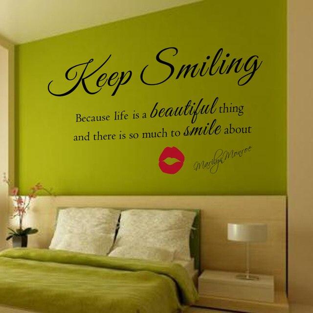 US $17.45  Marilyn Monroe Wandtattoo Halten Lächeln Wandaufkleber Schöne  Wand Zitat Vinyl Aufkleber Aufkleber hauptdekor nursery Wandkunst 50,8 cm x  ...