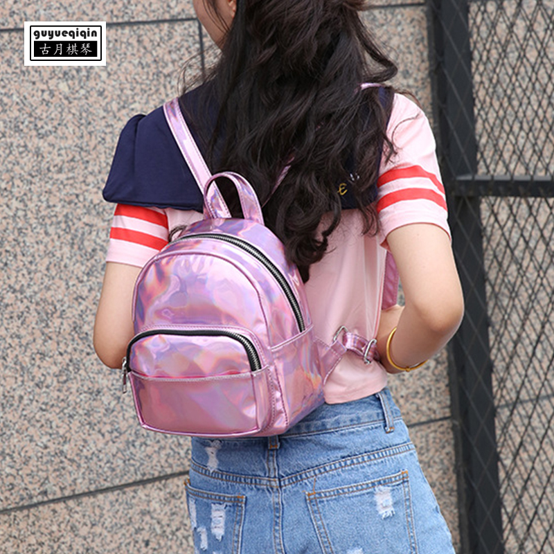School Bag for Girl Laser Personality Fashion Women Mini Backpack Korean Zipper PU Leather Small Schoolbag Free Shipping Bagpack
