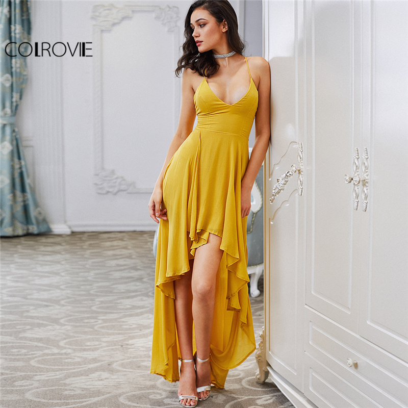 COLROVIE High Low Draped Party Dress Sexy Backless 2017 Women V Neck Yellow A Line Summer Dresses Cross Strappy  Slip Maxi Dress Платье