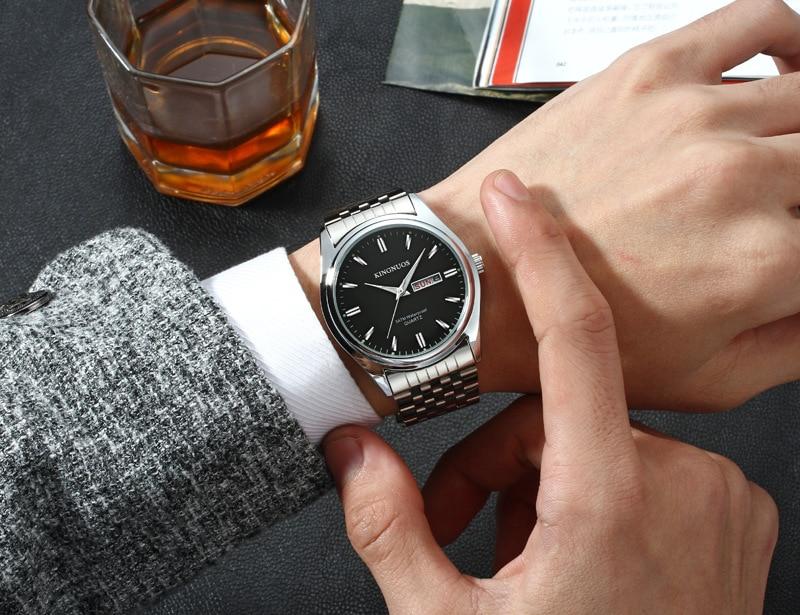 HTB1GnBrqnJYBeNjy1zeq6yhzVXaQ Kingnuos Brand New Design Business Man Watch Steel Waterproof Luminous Hour Date Week Clock Male Hodinky Quartz Men's Watch