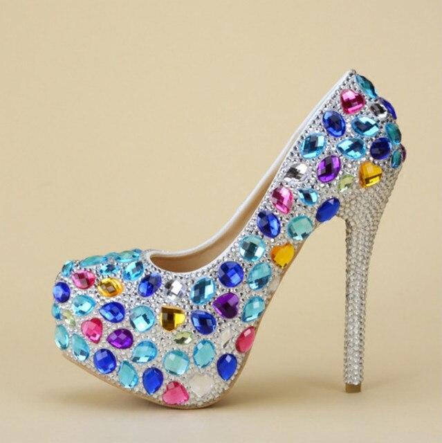 quality design 7c2a1 ea782 US $75.0  High heels hochzeit schuhe diamant farbe blau frau hochzeit  kristall schuhe Hochzeit fotostudio hochzeit kleid zeigen schuhe in High  heels ...
