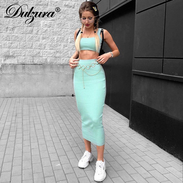 Dulzura neon ribbed knitted women two piece matching co ord set crop top midi skirt sexy festival party 2019 winter clothing 1