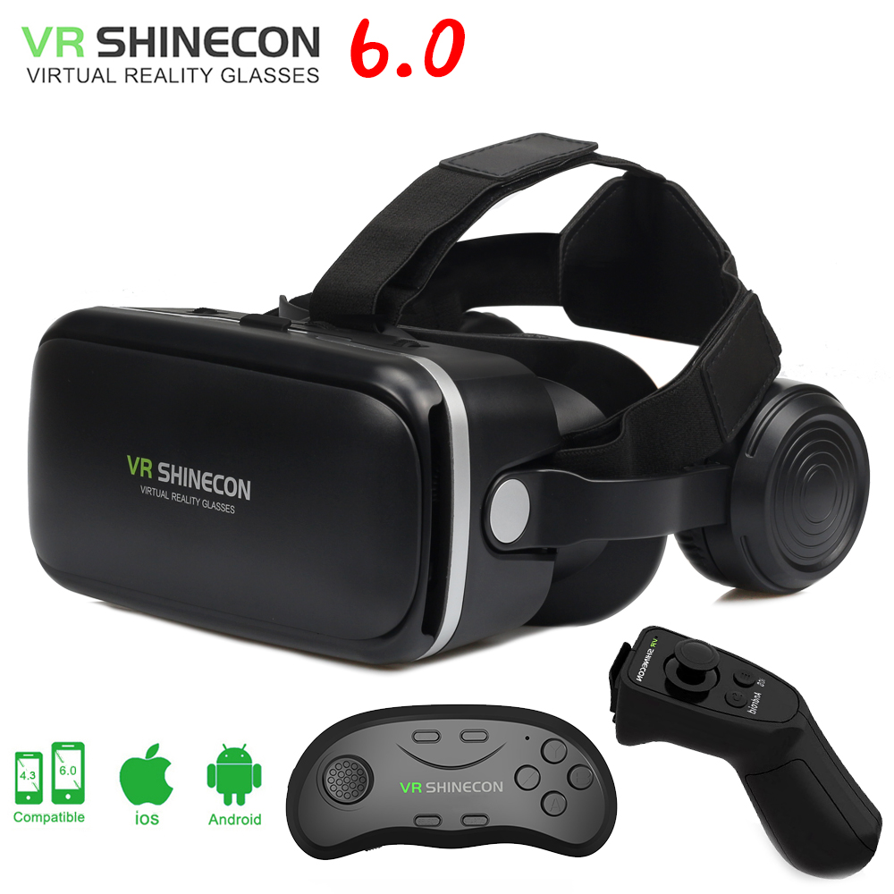 VR shinecon 6.0 3D Glasses box virtual reality goggles google cardboard VR headset for 4.5-6.0 inch ios Android smartphone
