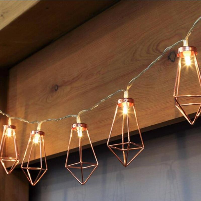1.523 Meter Metal Lanterns Lamp Rose Gold Light String Garland Battery Powered Backyard Wire Light for Christmas Outdoor Decor (15)