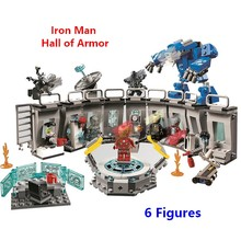 Compatible With Lego 76125 Marvels Avengers Iron Man Hall of Armor Modular Lab with 6 Marvel Universe Superhero Figures Toy Gift(China)
