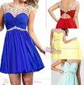 16 céu azul cvintage preto hiffon cristal as costas abertas partido formal vestido de cocktail prom vestidos longos 2014 maxi plus size vestido