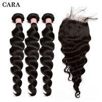 Перуанский человеческих волос Ткань натуральная пучки волос с закрытием свободная волна человеческих волос Связки с 4x4 кружева закрытие CARA