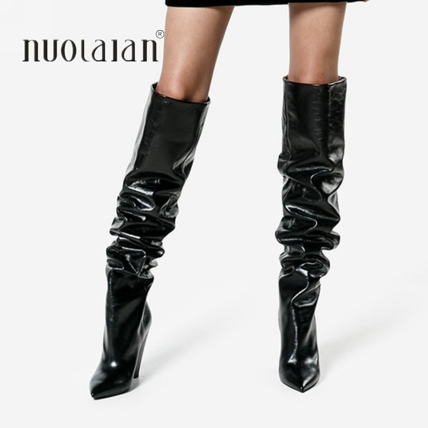 Women Over The Knee Boots Leather Thigh High Boots 2018 Autumn Winter Ladies Fashion Fur Warm high Heel Boots Snow Shoes Woman knitted women high knee boots thigh high boots over the knee boots elastic slim autumn winter warm woman shoes botas feminina